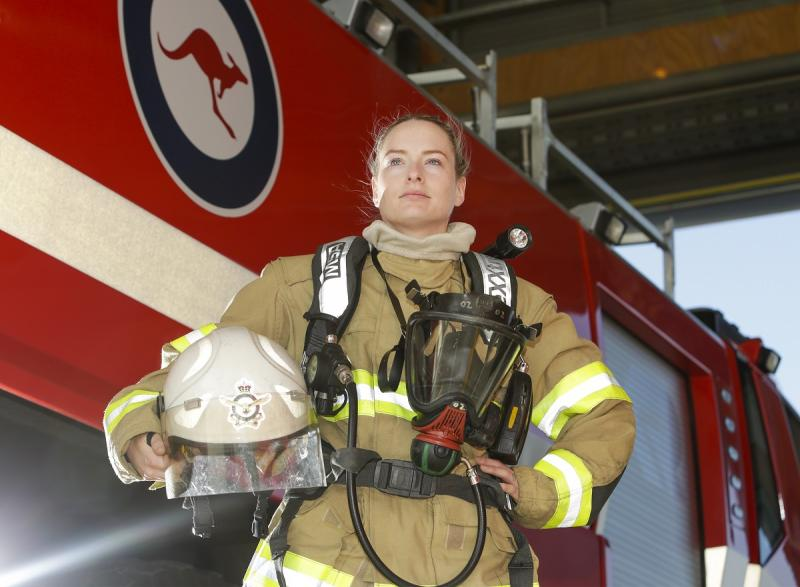 Aircraftwoman Kylie Ahern, Firefighter from No. 23 Squadron at RAAF Base Amberley.